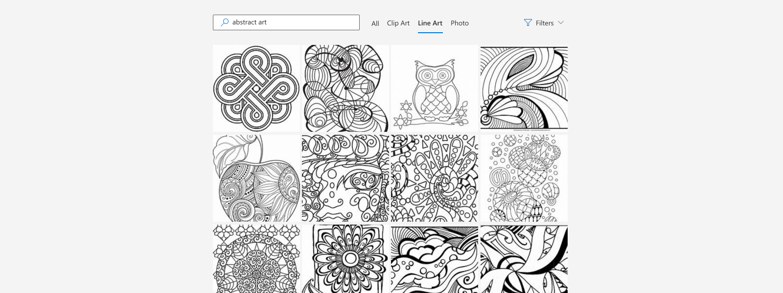 Illustration of refining image search results by image type.