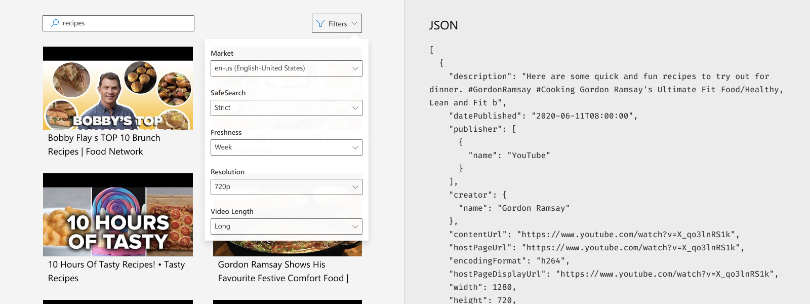 Illustrates using filters such as freshness, resolution, and size in a video search request.