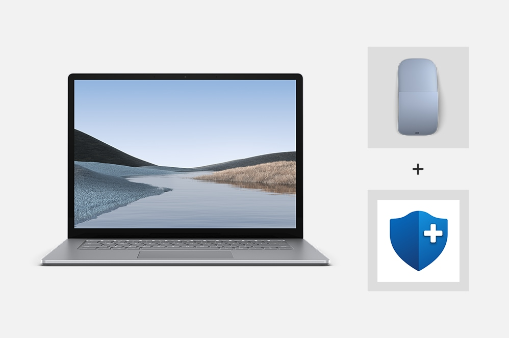 Surface Laptop 3 for Business with a Surface Mouse and a logo for Microsoft Complete.