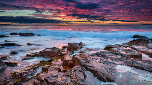 Colorful photo of sunset over the ocean