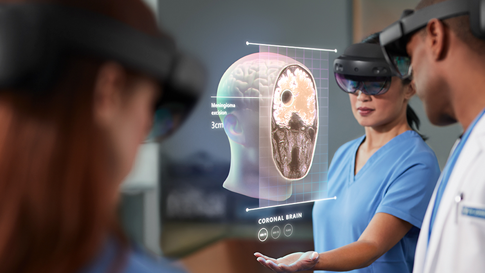 A care team is using HoloLens and mixed reality