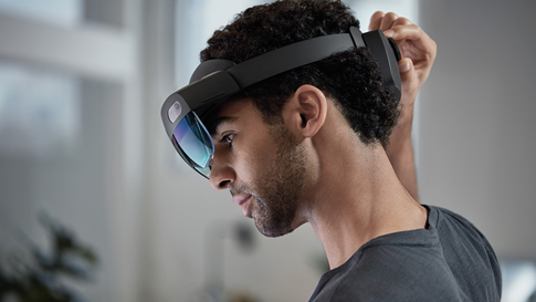 A person wearing a HoloLens