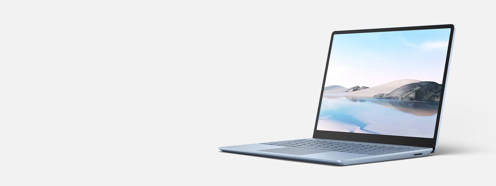 開いた状態でディスプレイに置かれている Surface Laptop Go。