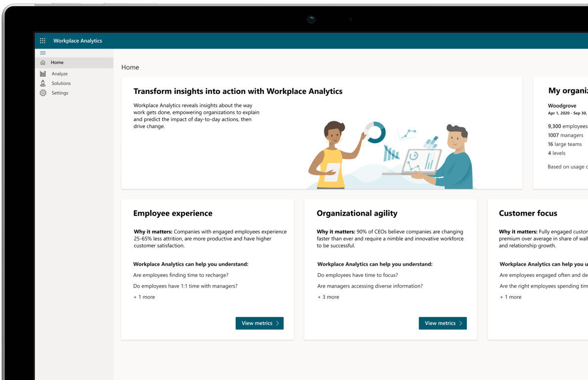 The homepage of Workplace Analytics.