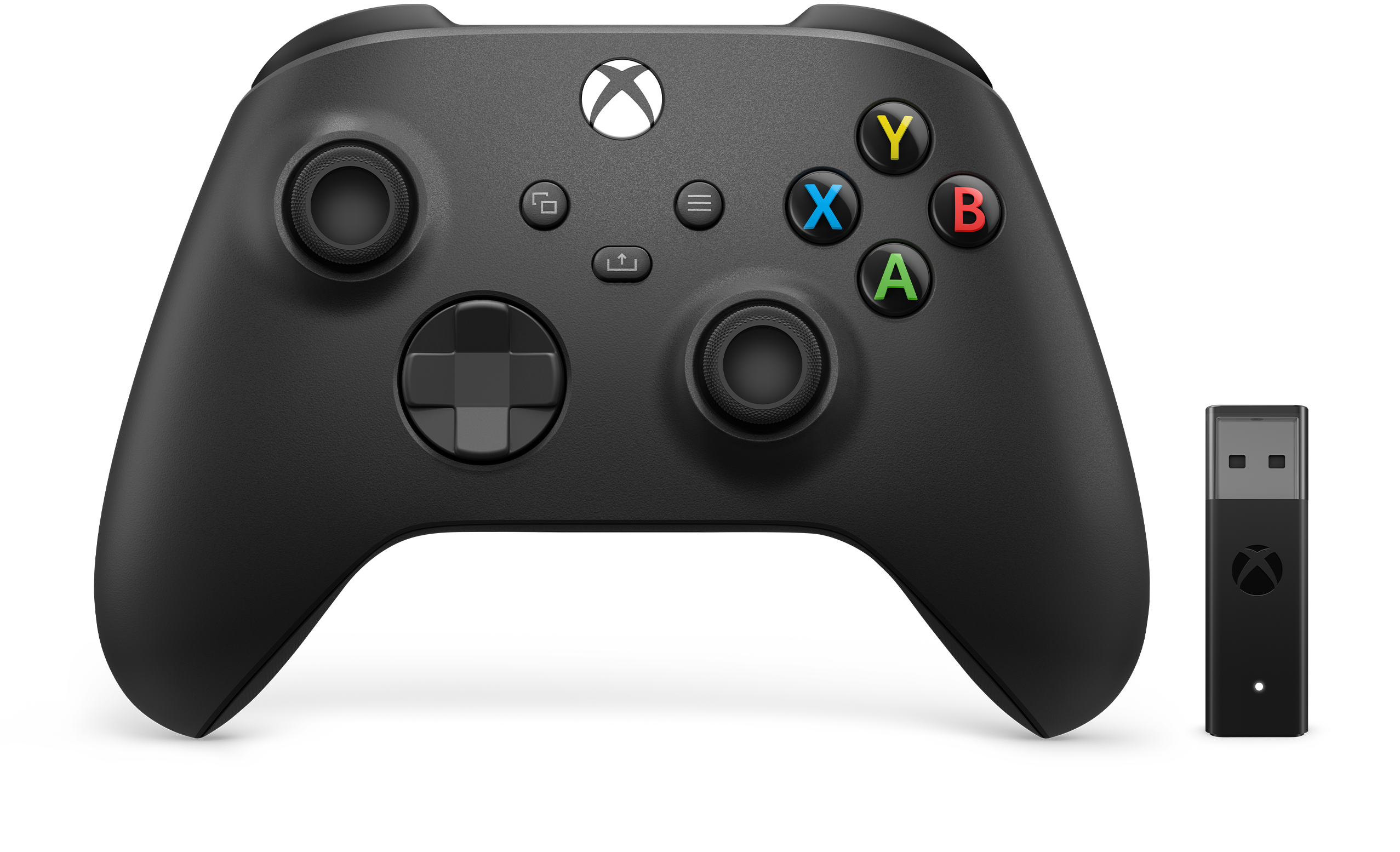Xbox Wireless Controller + Wireless Adaptor for Windows 10 Xbox Wireless Controller, designed for enhanced comfort during gameplay for PCs, supported consoles, and mobile phones or tablets. Use the included Xbox Wireless Adaptor to play wirelessly on PC*