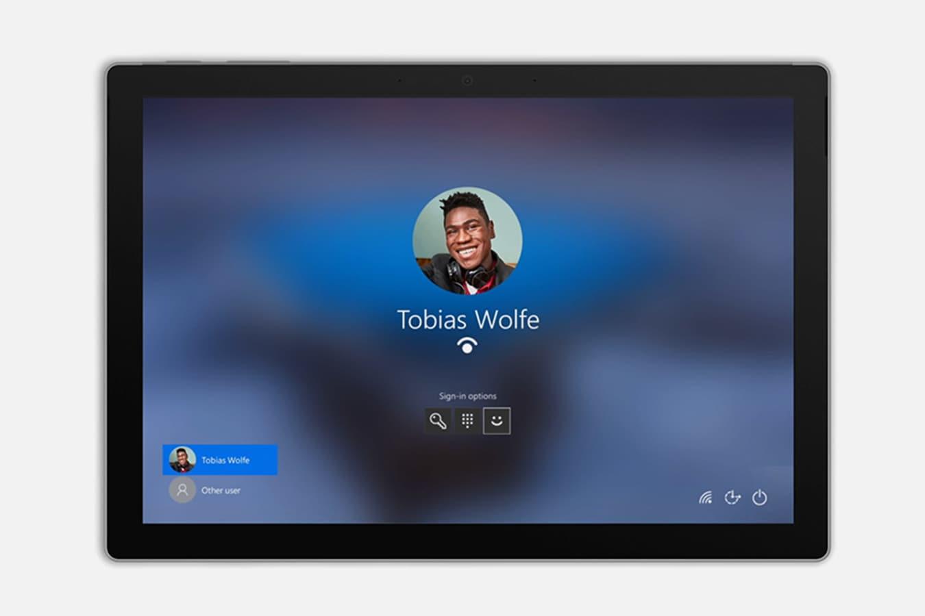 Surface Pro 7 que muestra la pantalla de inicio de sesión
