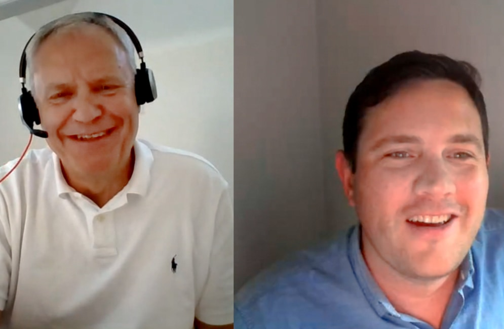 A screenshot of a video call between Alex Bradley and Peter Anderson, Head of Global IT at LEO Pharma.