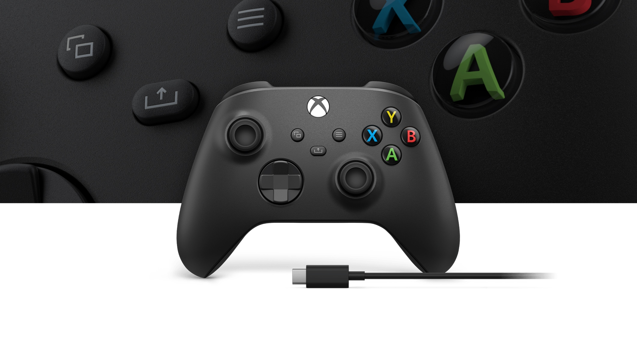 Xbox Wireless Controller + USB-C® Cable with a close-up view of the controller in the background