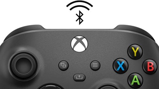 El controlador inalámbrico Xbox + adaptador inalámbrico con un icono de Bluetooth®