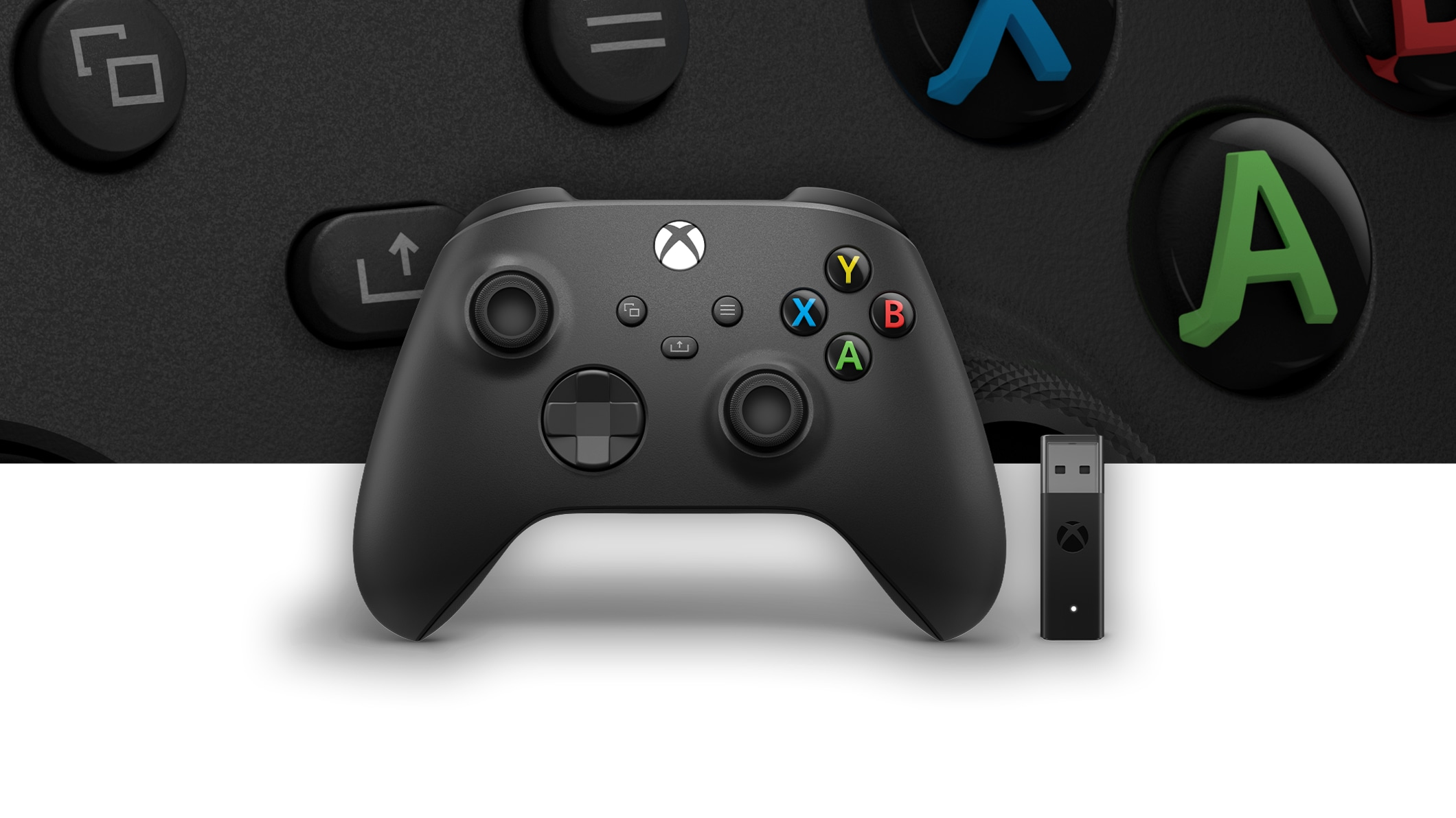 Xbox Wireless Controller + Wireless Adaptor for Windows 10 with a close up of the controller in the background