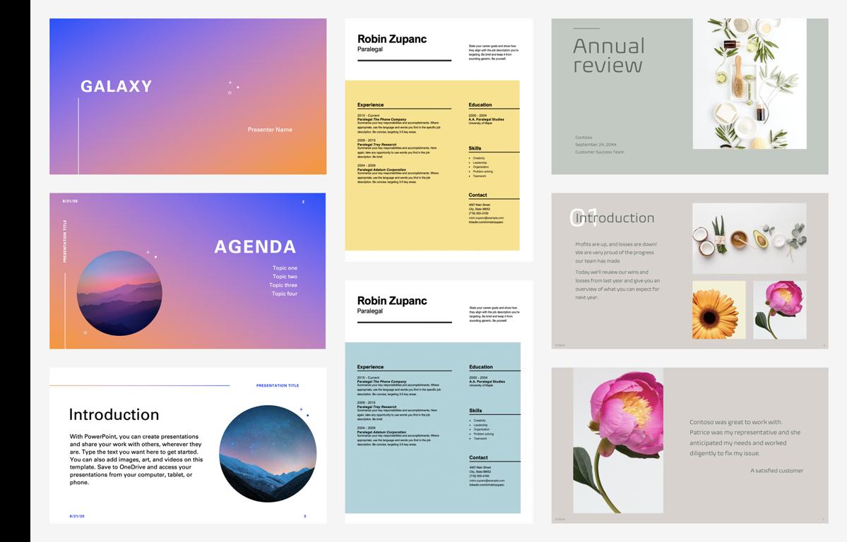 A sampling of 8 colorful premium templates.