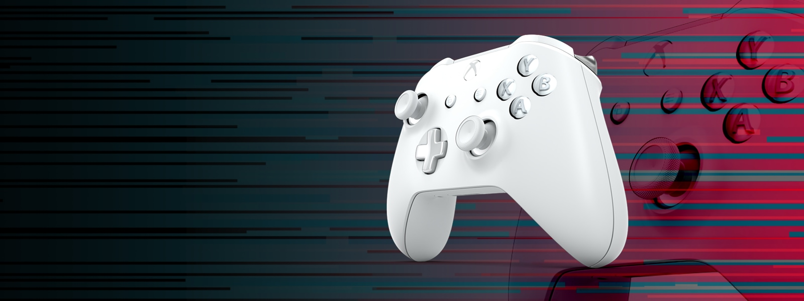 White controller on colored background