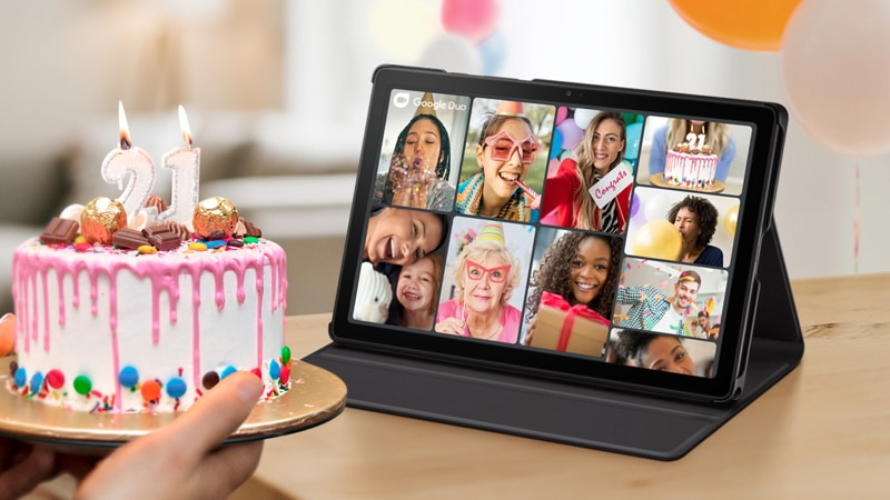 Family and friends video calling for a 21st birthday on the Samsung Galaxy Tab A7
