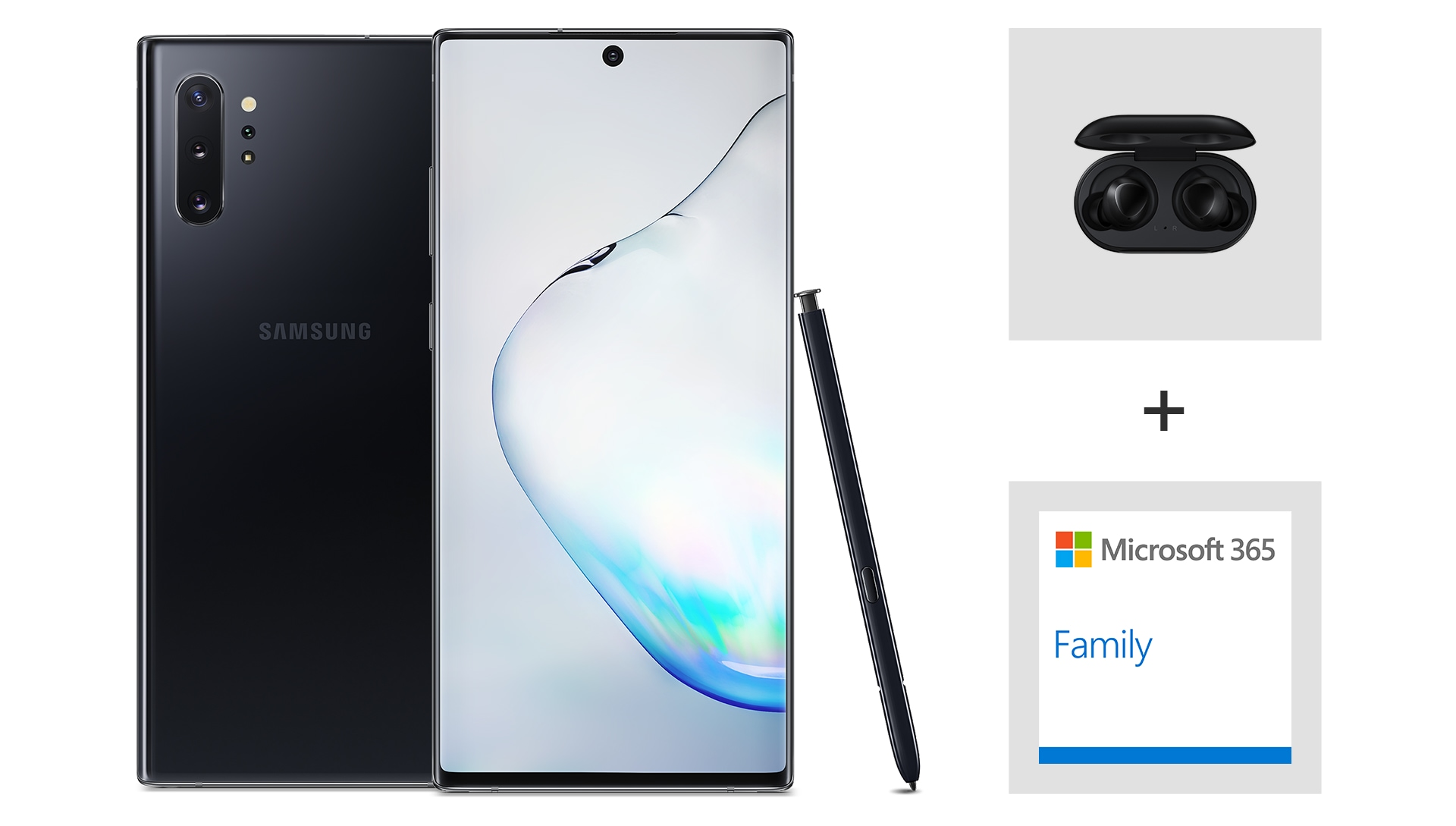 Samsung Note 10 bundle with Samsung Earbuds and Microsoft 365 Family.