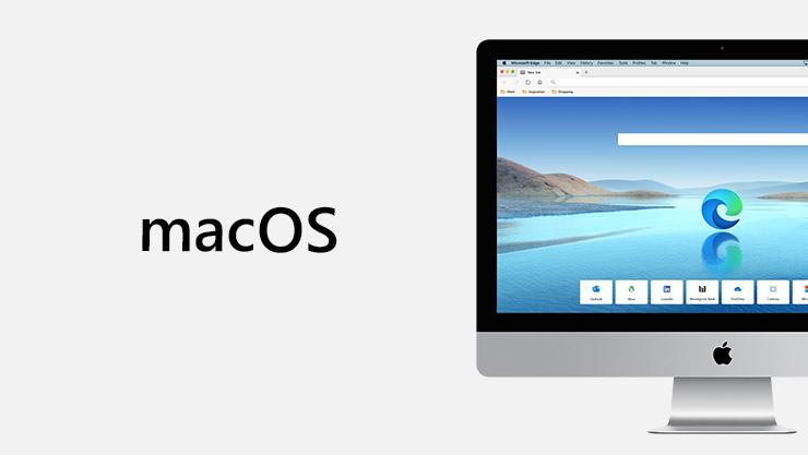 macOS-logo ved siden af Mac-skærm med Microsoft Edge på skærmen.