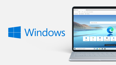 Windows-Logo neben Windows-Laptop mit Microsoft Edge auf dem Bildschirm.