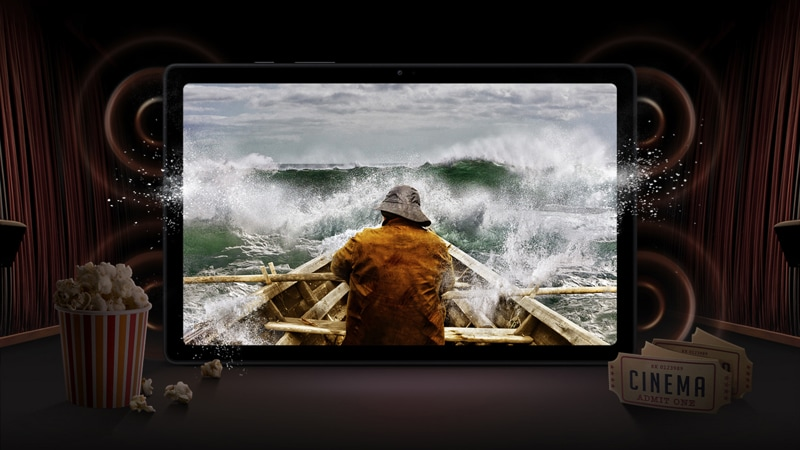 Samsung Galaxy Tab A7 display as a cinema screen showing a man on a boat