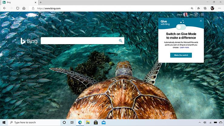 Microsoft Edge-browservindue, der viser Bing-søgemaskine med et billede af en havskildpadde.