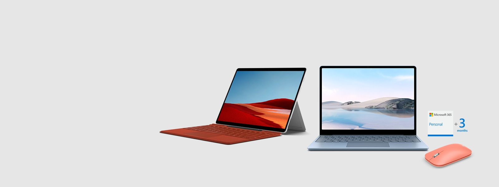 Surface Laptop Go with Surface Pro X with Type Cover and Microsoft 365, Mobile Mouse
