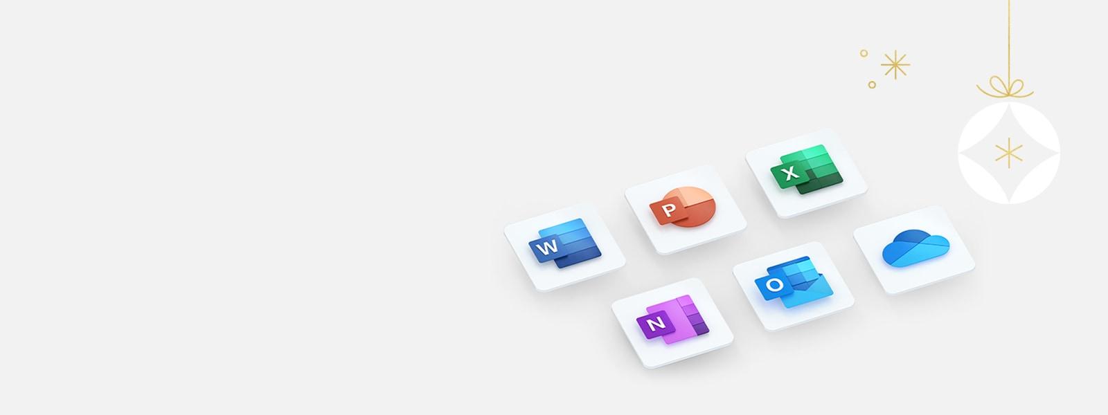Iconos de las aplicaciones que se incluyen en Microsoft 365