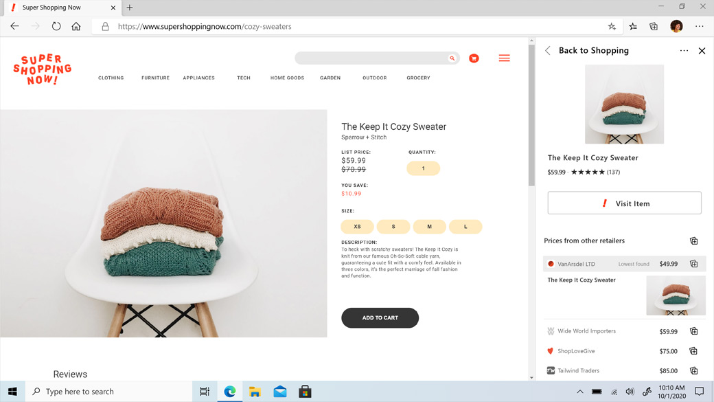 Microsoft Edge browser window showing shopping website with Price Comparison feature