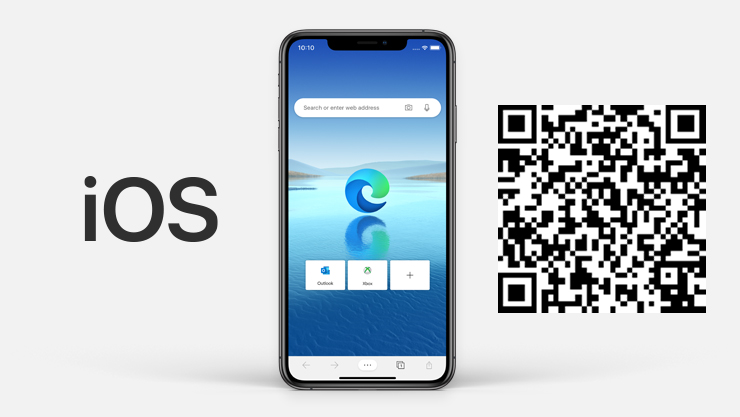 : iOS logo next to iPhone with Microsoft Edge on the screen and QR code.