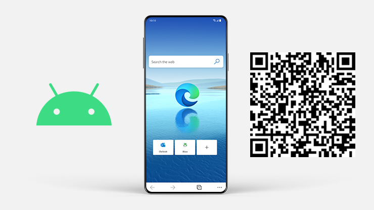 Android logo next to Android phone with Microsoft Edge on the screen and QR code.