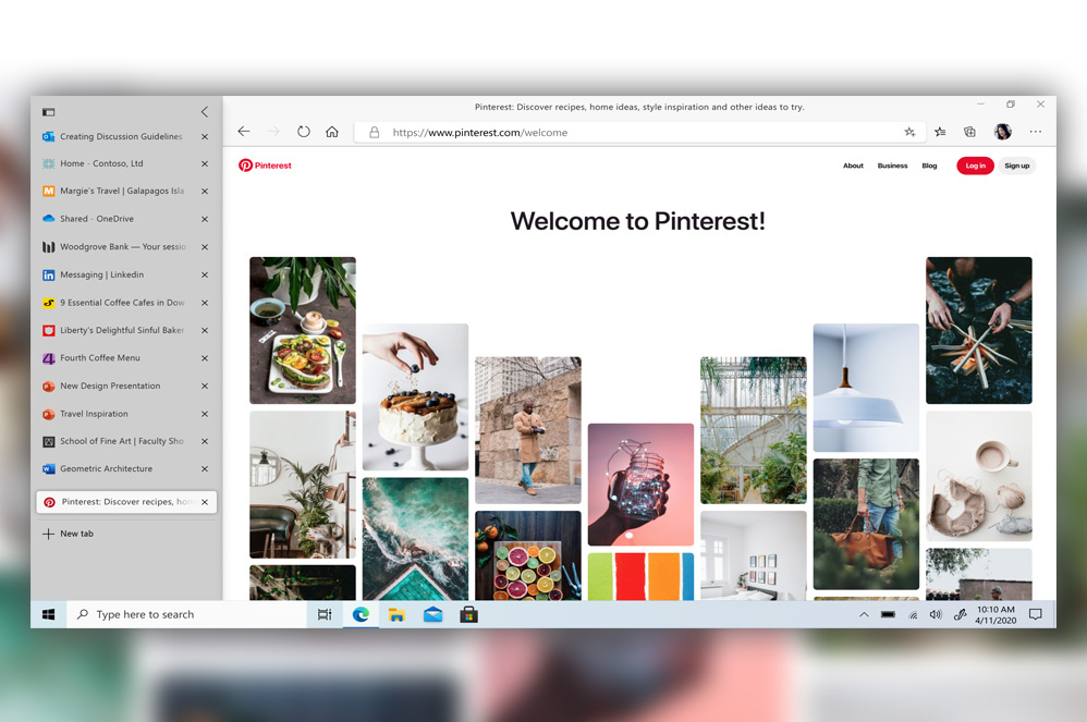 Microsoft Edge browser's Vertical Tabs toolbar over Pinterest