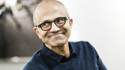 A photo of Microsoft CEO, Satya Nadella, smiling.