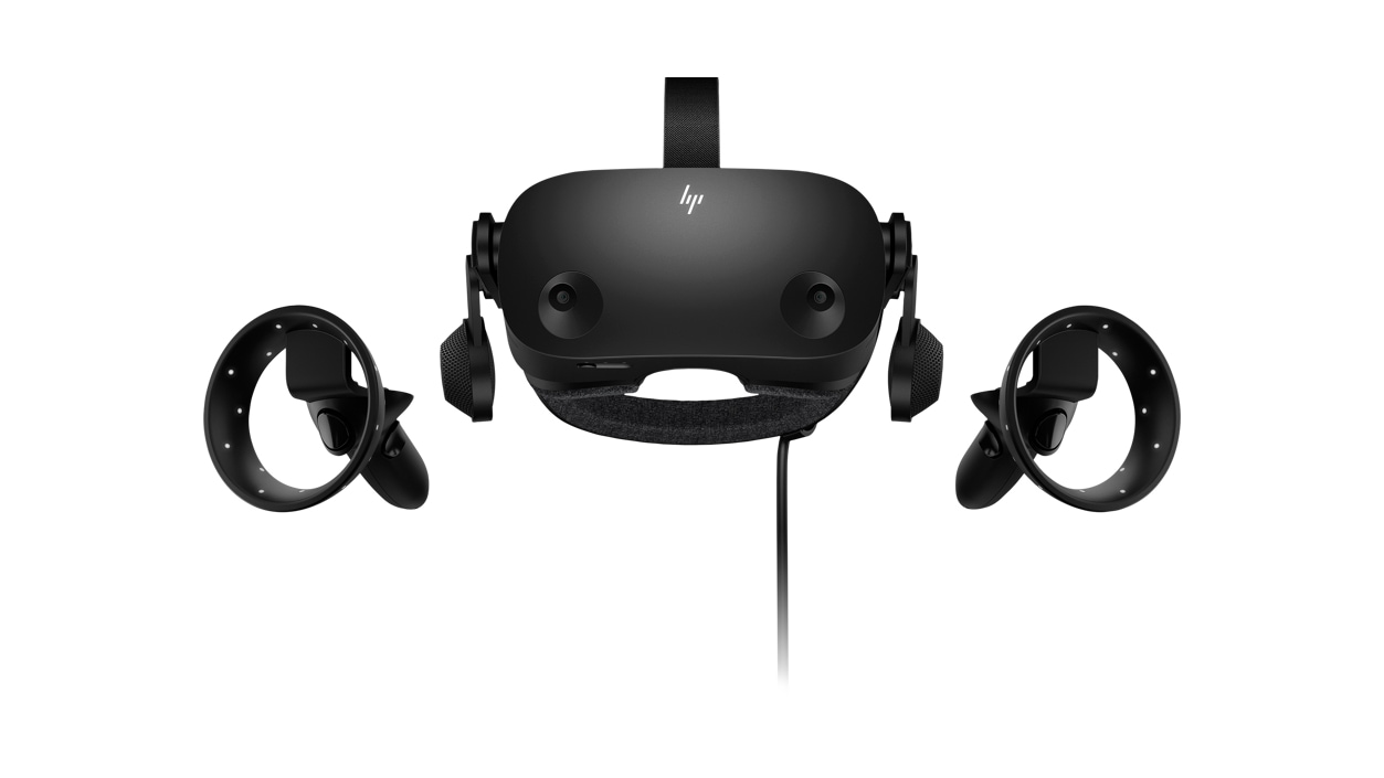 Front view of HP Reverb G2 VR Headset with controllers