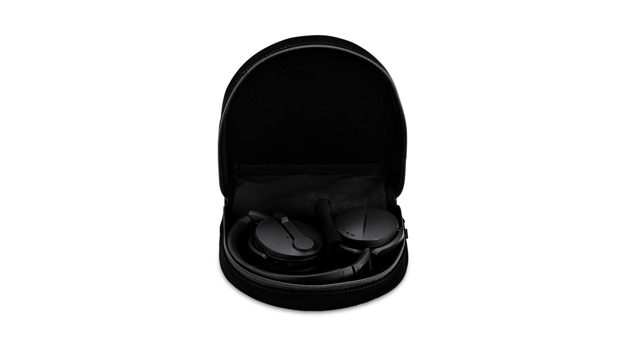 Sennheiser Adapt 560 headset in black folded up in their case