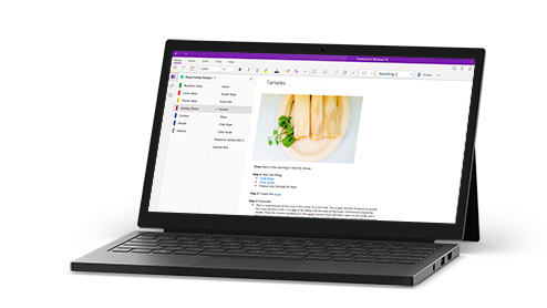 Laptop with OneNote displayed on screen
