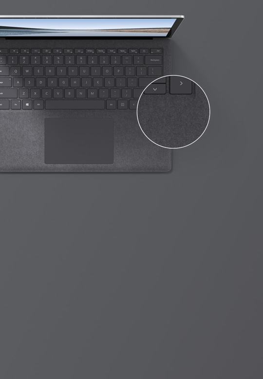 "13.5"" Surface Laptop 3 in Platinum top down view"