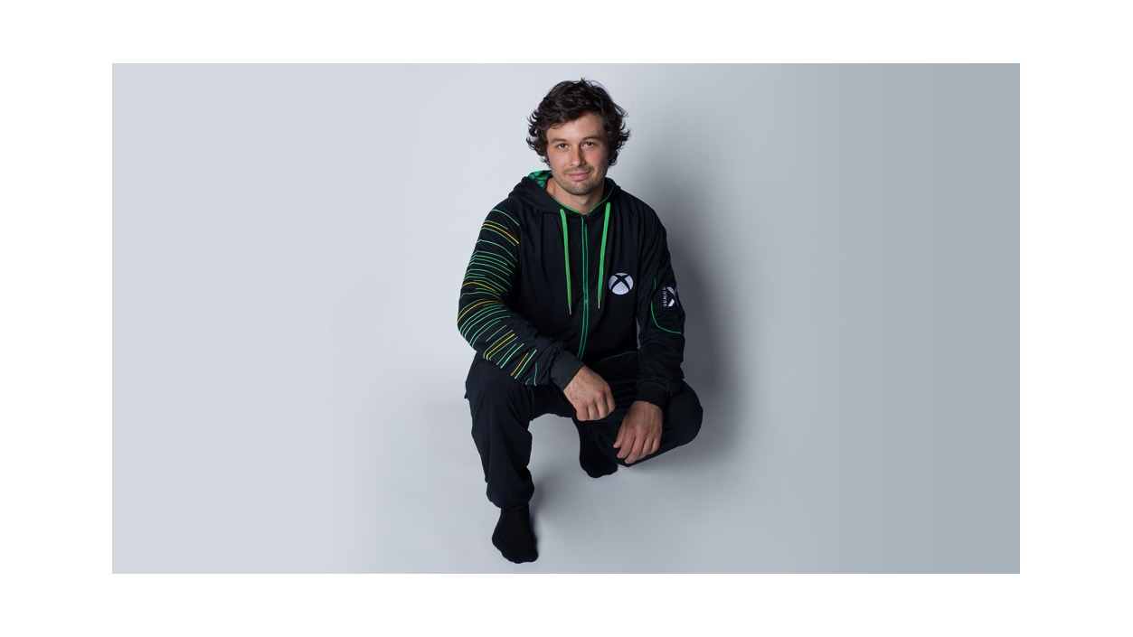 Male wearing Xbox Series X Hooded Union Suit