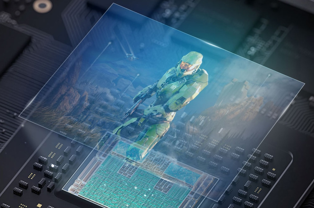 Image from Halo game over superimposed over internal Xbox Series X components