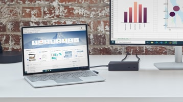 Surface Laptop Go met externe monitor aangesloten op een Surface Dock