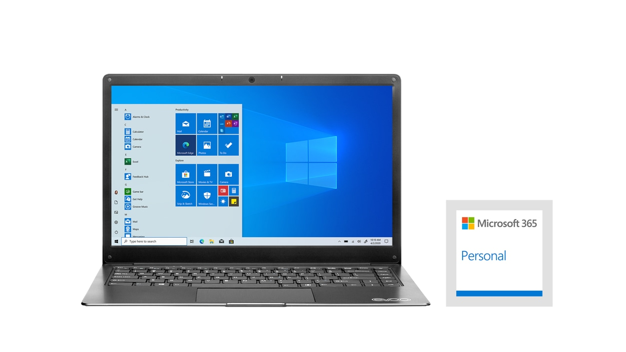 An Evoo Ultra Thin Laptop and a MIcrosoft 365 Personal badge