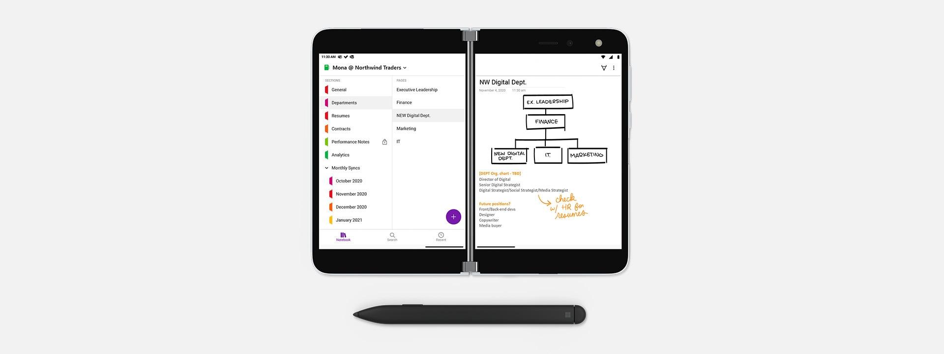 Surface Duo opengevouwen met Surface Slim Pen