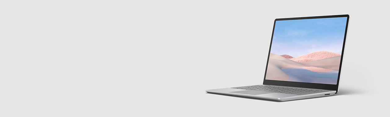 A Surface Laptop Go sits open and on display.