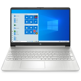 HP 15 Laptop finished in natural silver with 15.6 inch micro-edge display, integrated precision touchpad, full-size keyboard, and HP True Vision HD Camera