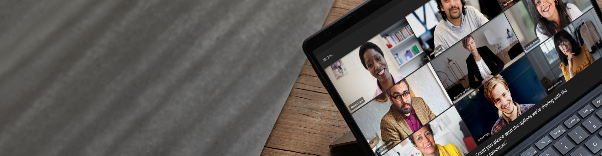 A close up of a multi-person video call in progress on Teams.