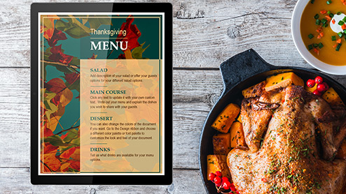 Thanksgiving menu template and food
