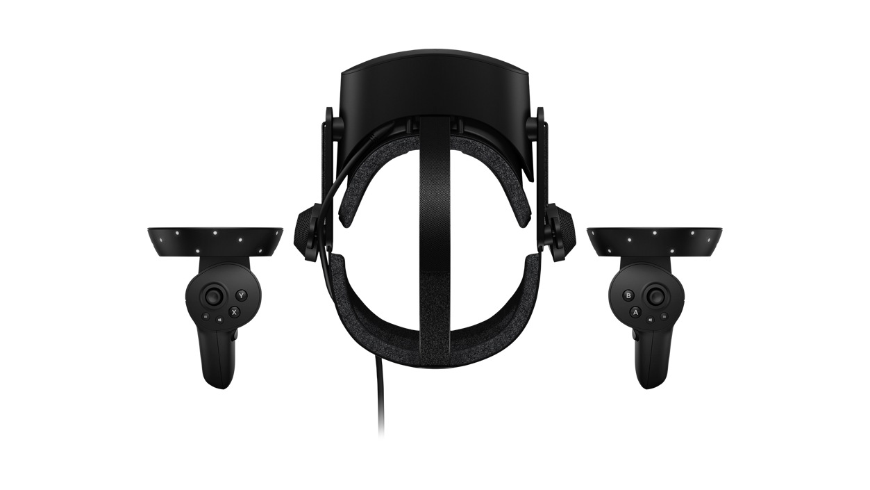 Birdseye view of HP Reverb G2 VR Headset with controllers