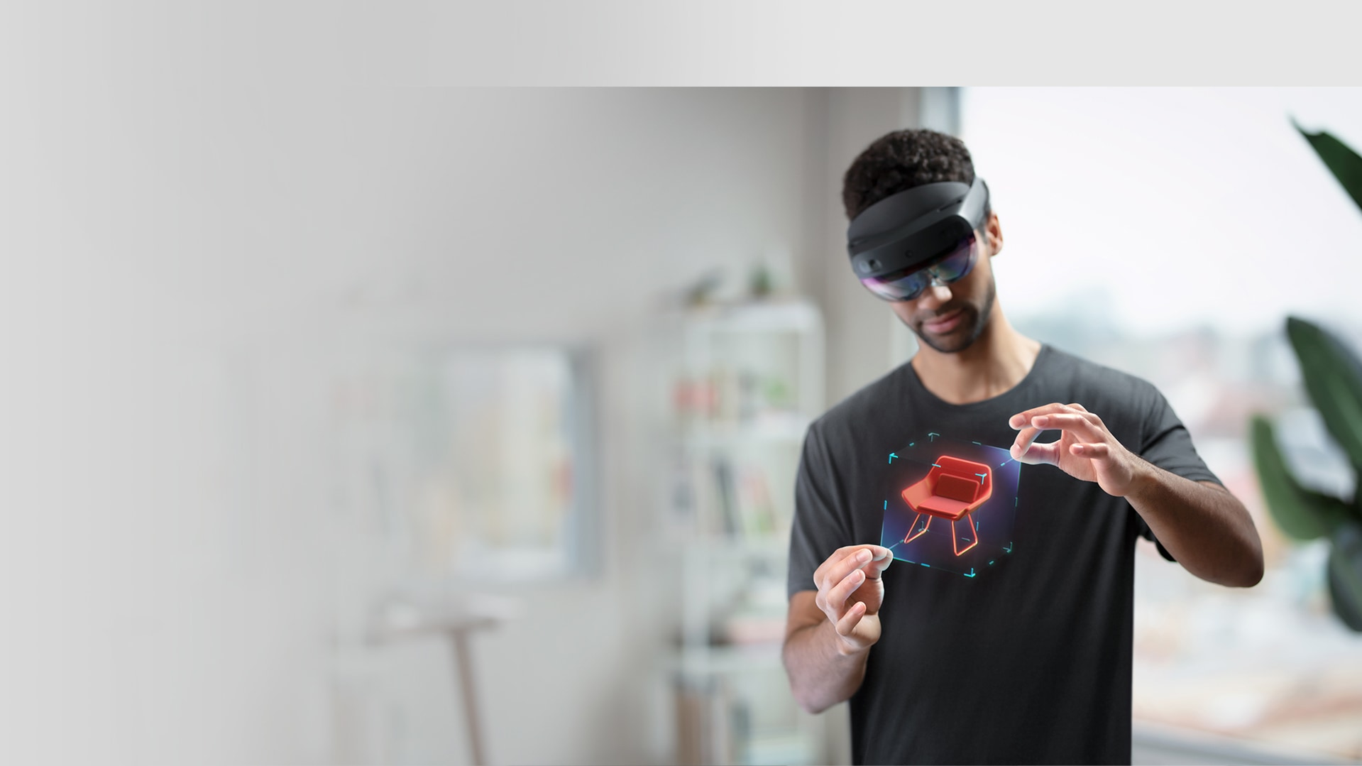 Developer using a HoloLens 2 device