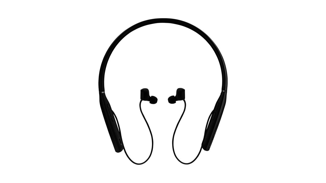 Head on view of Sennheiser ADAPT Black headphones.