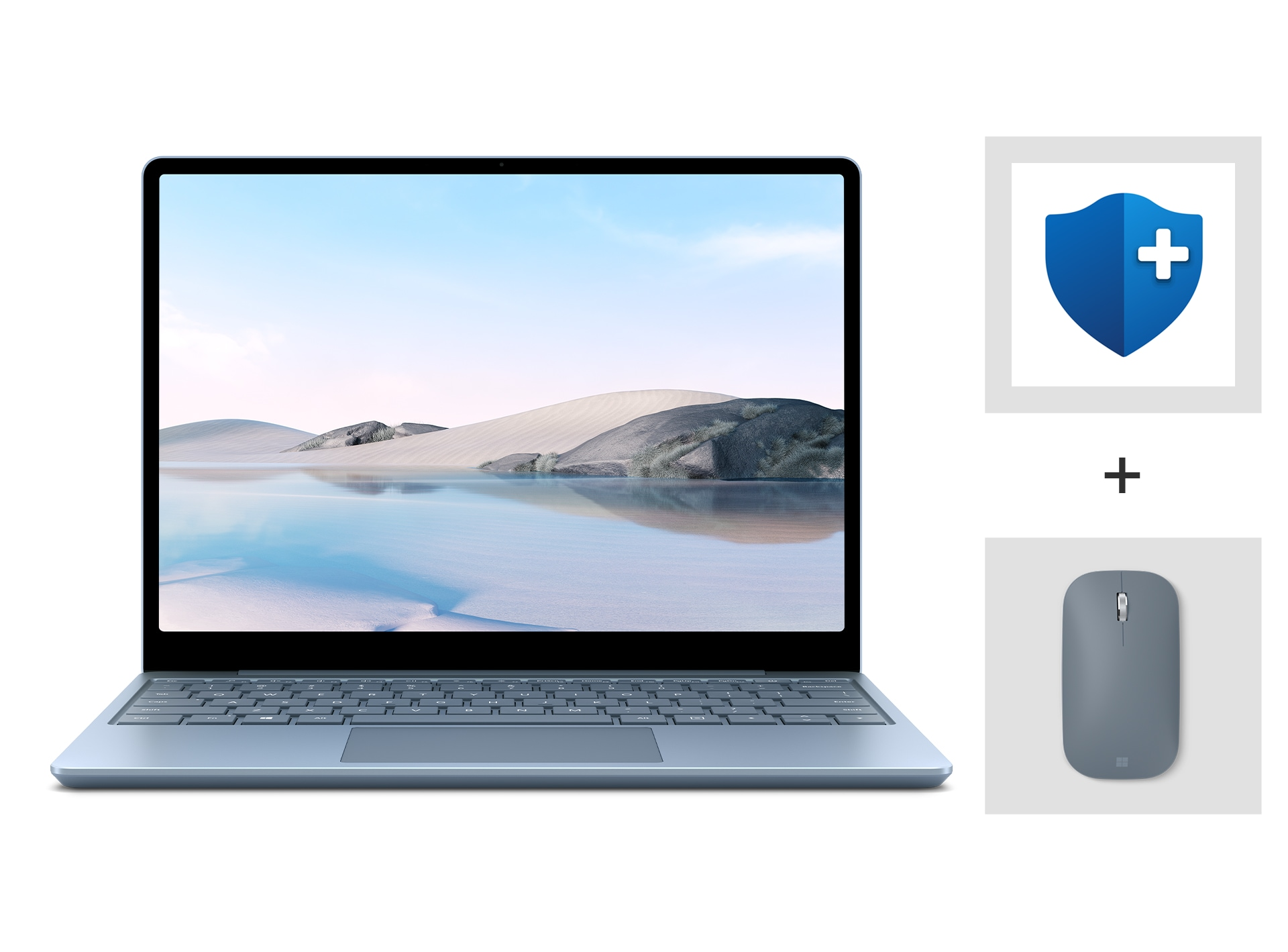 An Ice Blue Surface Laptop Go with Complete for Business Warranty and Ice Blue Surface Mobile Mouse.