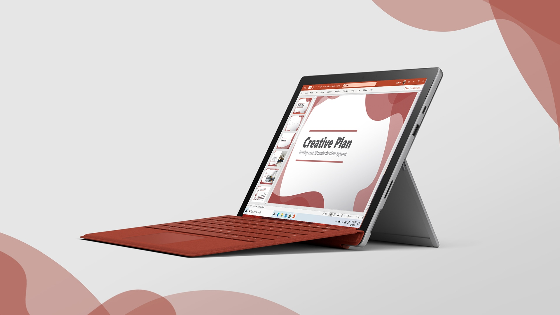 Surface Pro 7 with poppy red type cover and a Powerpoint document is on screen.