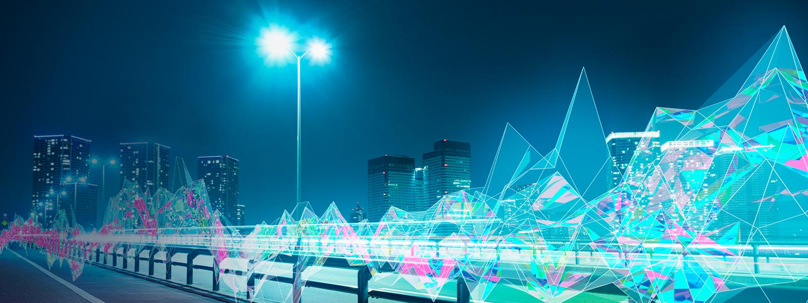 夜の街並みと AI のオーバーレイ パターン