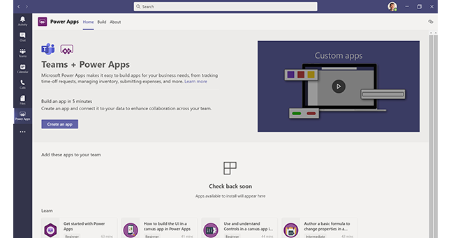 A screenshot of Power Apps in Microsoft Teams.