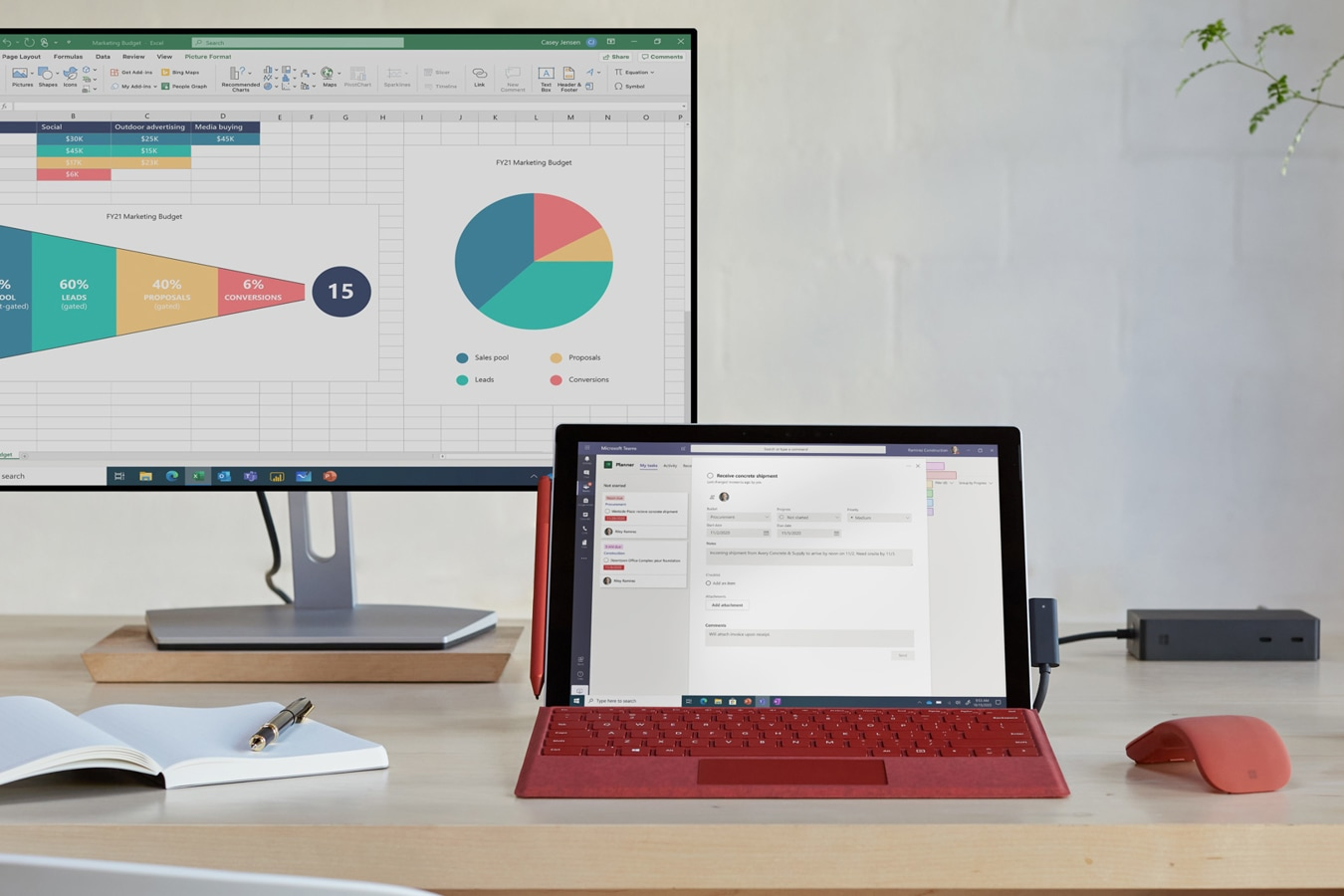 Surface Pro 7+‎ is shown on a home office desk while connected to an external monitor using multiple ports